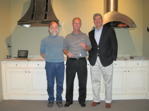 Tommy Carter and Larry Carter from Vent-A-Hood Georgia accept the 2013 Vent-A-Hood Sales Award from Mark Klein, Director of Sales at Vent-A-Hood.